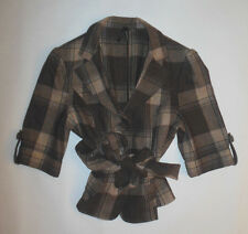 LAPIS WOMEN JACKET BROWN PLAID BOLERO STYLE FULLY LINED WITH BELT LINED  SZ S