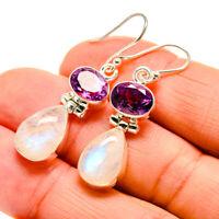 """Rainbow Moonstone, Amethyst 925 Sterling Silver Earrings 1 1/2"""" Jewelry E409827F"""