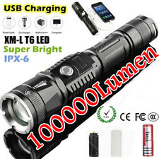 100000lumen LED Flashlight Power Bank Emergency Charger  L2 Torch USB Charging