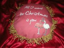 "Dark Red ""All I Want For Christmas Is You"" Tropical Pink Flamingo Accent Pillow"