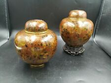 Pair Brass Cloisonne Enamel Chinese Brown Maroon Vintage Vase with l Tall Zi Jin