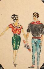 Vintage watercolor painting man woman portrait costumes design