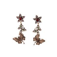 orecchini A perno Dorato Fiore Farfalla Pavé Perla Verde Rosso AA 16