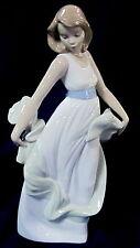 Nao By Lladro #1343 Walking On Air Bnib Lady Young Girl White Dress Summer F/Sh