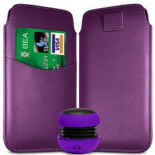 CARD SLOT PU LEATHER PULL FLIP TAB CASE COVER POUCH & SPEAKER FOR APPLE PHONES