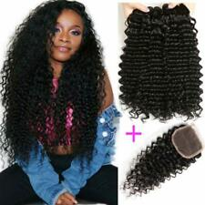 9A 4*4 Lace Frontal Closure With Bundles Brazilian Deep Wave Human Virgin Hair