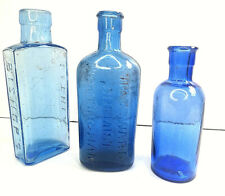 Old/Vintage Blue Bottles x3