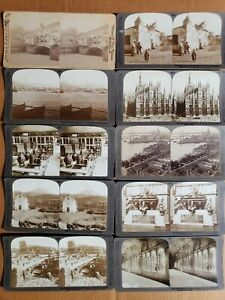 LOT OF 10 ITALY ANTIQUE STEREOVIEW STEREOSCOPIC CARDS UNDERWOOD,GRIFFITH