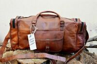 "Men's genuine Leather 30"" large vintage duffle travel gym weekend overnight bag"