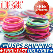 100Pcs Kids Girl Elastic Rope Hair Ties Ponytail Holder Rubber Band Hairband US