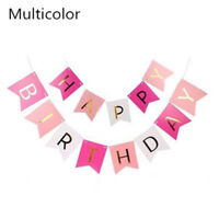 1 Set Happy Birthday Bunting Banner Hanging Garlands Flags Party Paper Banners