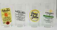 Vintage Set of 4 Scottish Whisky Glasses Labels Long John Ushers Buchanan's