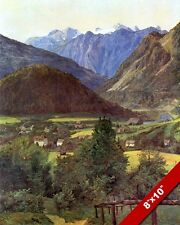 HOHER DACHSTEIN MOUNTAINS TOWN AUSTRIA LANDSCAPE PAINTING ART REAL CANVAS PRINT