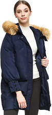 Orolay Women Warm Down Jacket With Hood Faux Fur Unique Sleeve Cuff Coat