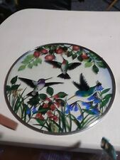 "Ruby throated Hummingbird Glass circle Suncatcher handmade 9.5"""