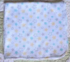 Just Born White Thermal w Aqua Gray & Yellow Stars Baby Boy or Girl Blanket Euc