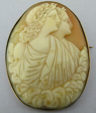 Large VICTORIAN Edwardian 9ct Rose Gold Shell Cameo Brooch Pin
