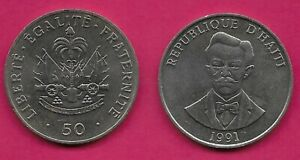 HAITI 50 CENTIMES 1991 UNC CHARLEMAGNE PERALTE,NATIONAL HERO,BUST FACING,NATIONA