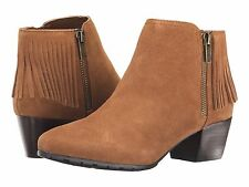 Kenneth Cole Reaction Pil-ates Toffee Brown Suede Fringe Ankle Boots Size 6