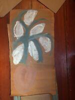 Sybil Gibson folk art painting  Outsider -   Flowers in Vase  Large 19 x 36(#1)