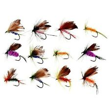 12pcs Various Dry Fly Hooks Fishing Trout Flies Hook Lures Tackle Tool Kit New