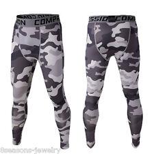 Men Thermal Sport Compression Leggings Base Layer Long Pants Camo Print Trousers