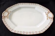 """Antique JEAN POUYAT LIMOGES China Double Roses Swags POY407 19"""" Large Oval Plate"""