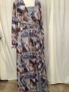 Maxi grey with under slip size 8 lost link  long sleve