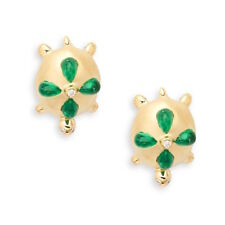 Temple St. Clair 18K Gold Turtle Earrings with Emerald and Diamond — $4,400