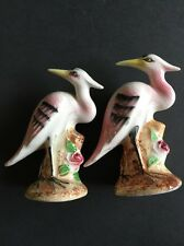 Vintage Salt Pepper Shakers Japan Bird Heron Pink Feathers Long Beak