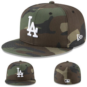 New Era L.A Dodgers 5950 Fitted Hat MLB Basic On Field Woodland Camouflage Cap