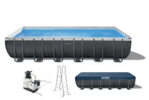 "INTEX 32ftx16ftx52"" Ultra XTR Frame Rectangular Pool Set with Sand Filter Pump -"