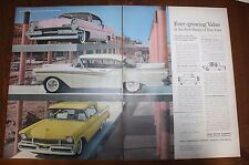 Original Print Ad FORD 1957 2 pp Fairlane 500 Lincoln Mercury Vintage Art