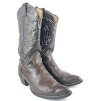 Tony Lama Mens 8.5 Brown and Black Leather Handmade Cowboy Western Boots 6283
