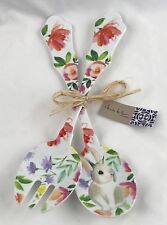 Nicole Miller 2 pc Serving Spoon Set Easter Bunny Floral Rabbit Spring Melamine