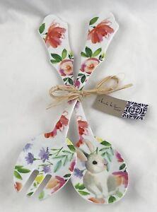 Nicole Miller 2 pc Serving Spoon Set Easter Bunny Floral Rabbit Spring Melamine