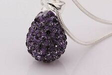 SHAMBALLA DARK PURPLE 15mm TEARDROP PENDANT NECKLACE WITH SILVER SNAKE CHAIN-S/P
