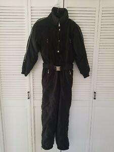 FILA Vintage Insulated One Piece Snow Ski Suit, Black, Women's 8