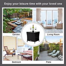 Square Rattan Wicker Glass Top Side Tea Table Patio Furniture Outdoor Black