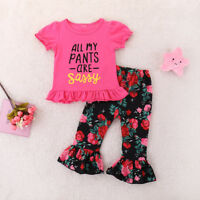 2PCS Toddler Kids Baby Girls Clothes T-shirt Tops+Sassy Floral Pants Outfits Set