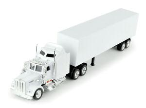 New Ray Kenworth W900 White Cab Trailer White Diecast Tractor Trailer Truck 1:43