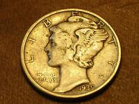 "1939-P Mercury Silver Dime, VF. Lot H-37403,""FREE SHIPPING"""