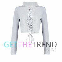 Womens High Neck Ladies Top Turtle Neck Long Sleeve Warm Sweatshirt New Lace Up