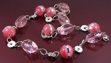 CHUNKY PINK MIRRORED & FACETED BEAD SILVER COIN STATEMENT NECKLACE.