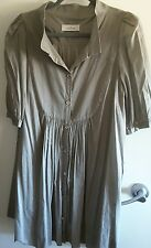 BY MALENE BIRGER FINE TAUPE COTTON DRESS WITH SLIP size 36 or UK 12