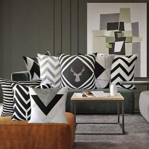 Thin Black White & Grey Geometric Sofa Cushion Covers 18 inch & 20 inch