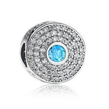 1pcs Silver CZ European Charm Beads Fit 925 Necklace Bracelet Chain DIY SH413