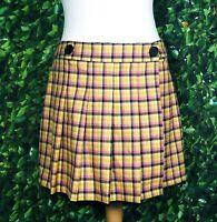 BNWT Topshop Petite Mustard Pink Check Tartan Pleated Wrap Kilt Skirt UK Size 12