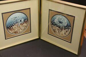 "Kenlyn Stewart Batik Artist Brown Blue Flower Art in Gold Frame 10 1/2"" square"