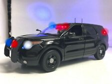BLACK Unmarked Police Interceptor FBI CIA SUV 1/18 WORKING Lights 4 Tone SIREN